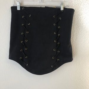 LF Suede Black Lace Up Skirt